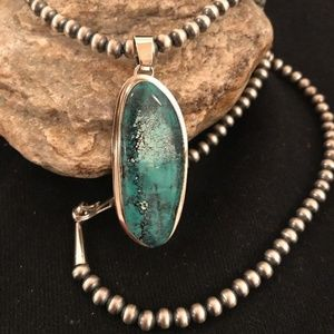 Navajo Pearls Web Turquoise Necklace pendant